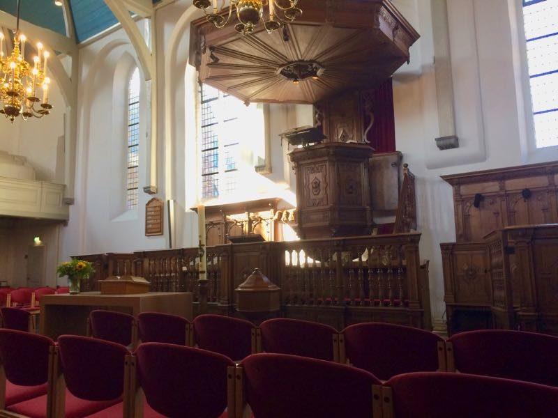 De preekstoel in de Gasthuiskerk van Zierikzee