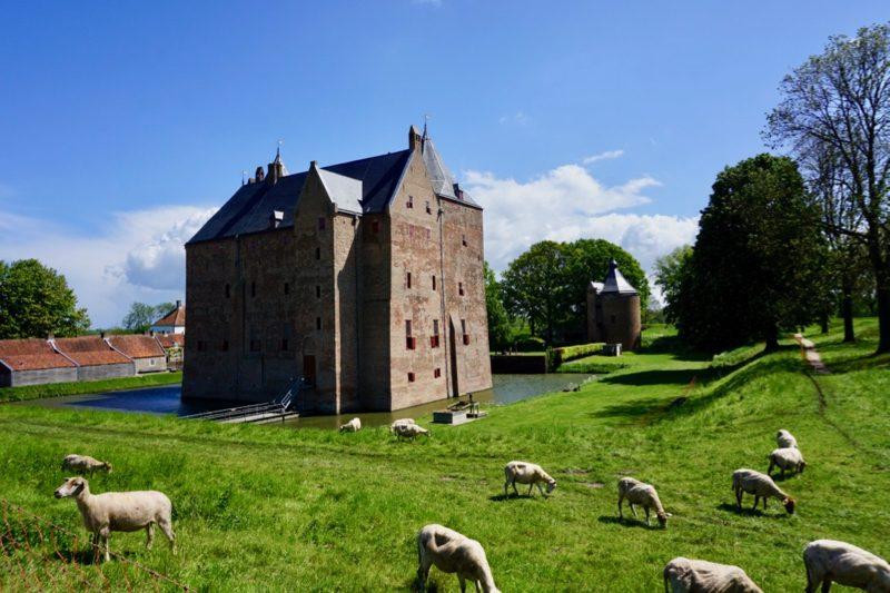 Slot Loevestein omgeven door een slotgracht en vijf bastions