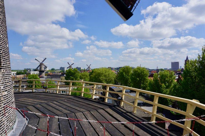 Uitzicht vanaf de molenomgang van molen 'De Vrijheid' over Schiedam