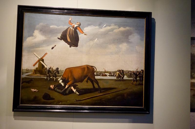 Het schilderij 'Des stiers wreedheid' in het Zaans Museum